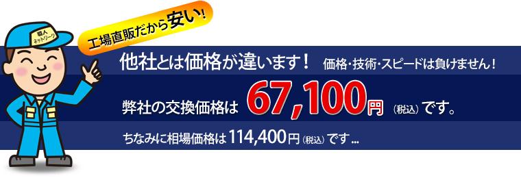弊社の交換価格は65,100円(税込)です。