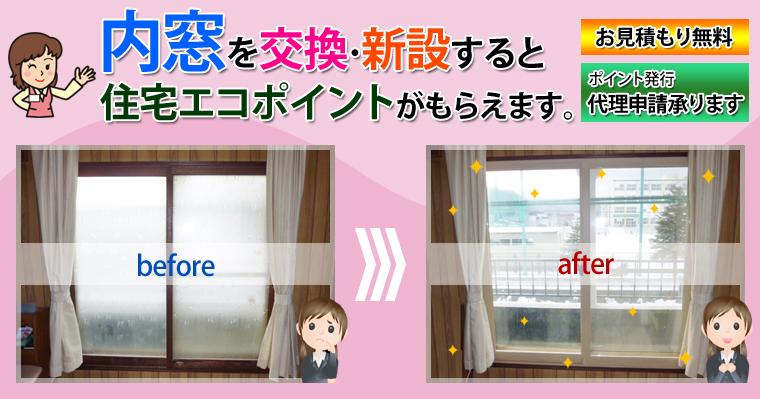 内窓を交換・新設すると住宅エコポイントがもらえます。
